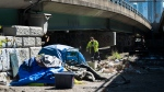 City of Toronto workers clean up garbage under the Gardiner expressway as homeless people have set up tents during the COVID-19 pandemic in Toronto on Wednesday, May 20, 2020. THE CANADIAN PRESS/Nathan Denette