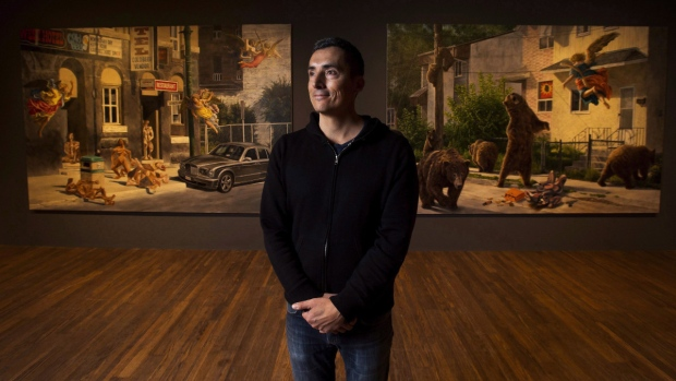 Cree artist Kent Monkman poses for a photograph in Toronto on Jan. 18, 2017. (Nathan Denette / THE CANADIAN PRESS)