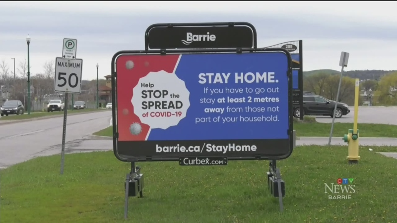 Barrie Stay Home sign.