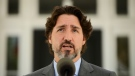 Prime Minister Justin Trudeau holds a press conference at Rideau Cottage amid the COVID-19 pandemic in Ottawa on Thursday, May 21, 2020. THE CANADIAN PRESS/Sean Kilpatrick