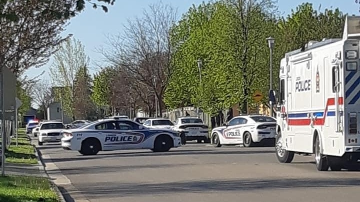Police respond for a weapons call on Bonaventure Drive in London, Ont. on Wednesday, May 20, 2020. (Source: Michele Lupa)