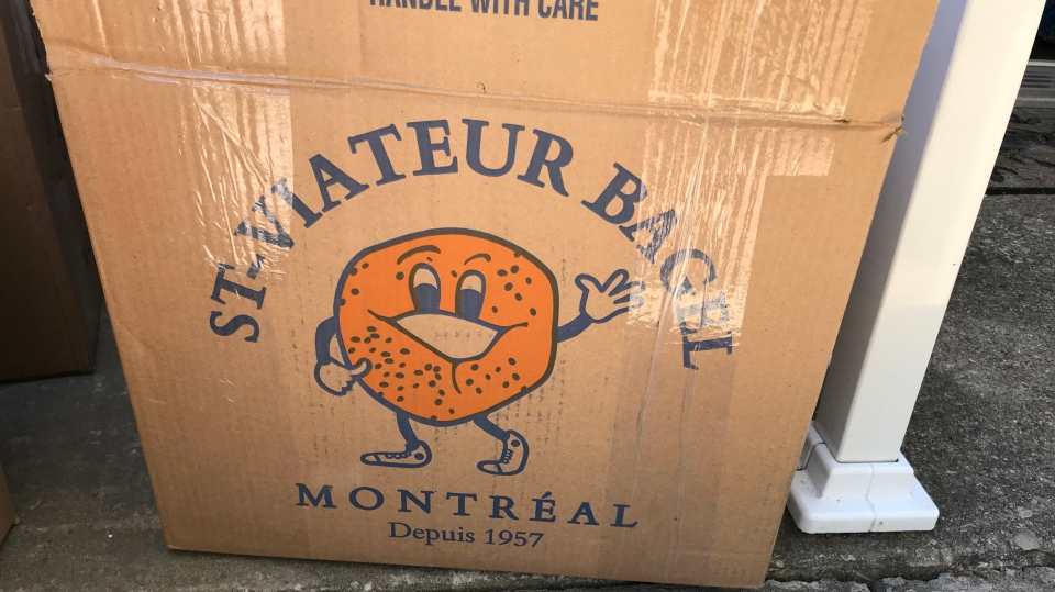 More than 100 dozen bagels from St. Viateur Bagel in Montrealarrived in boxes in front of a Toronto residence on May 21, 2020. (Janice Golding/CTV News Toronto)