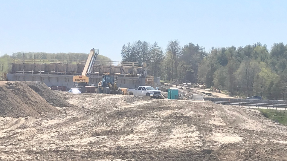 A section of Fairview Road in Barrie, Ont., will be closed to traffic on June 1, 2020, for crews to complete the new Highway 400 overpass. (CTV Barrie)