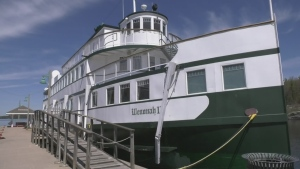 The Wenonah II sits at the Wharf in Gravenhurst on Thurs., May 21, 2020. (Rob Cooper/CTV News)