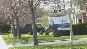 SOLD sign on a home in Simcoe County. (CTV Barrie)