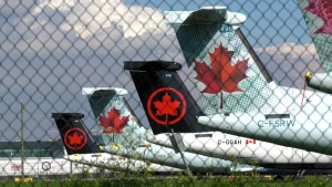 Air Canada planes are shown here in storage at Vancouver International Airport during the pandemic.
