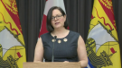 Dr. Jennifer Russell, New Brunswick's medical officer of health, provides an update on COVID-19 during a news conference on May 22, 2020.
