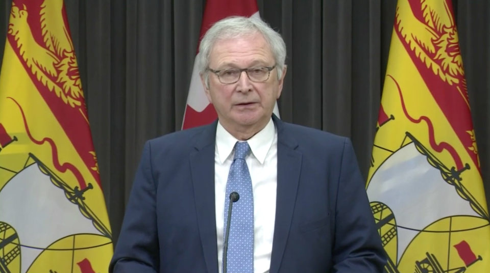 New Brunswick Premier Blaine Higgs speaks at a news conference on May 22, 2020.