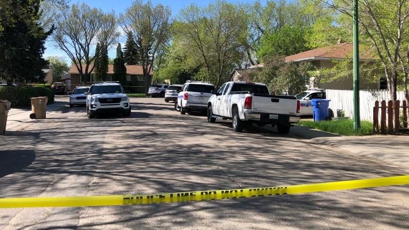 Police investigate a death on Fisher Street on May 22, 2020 (Ashley Scarfe / CTV News Regina)