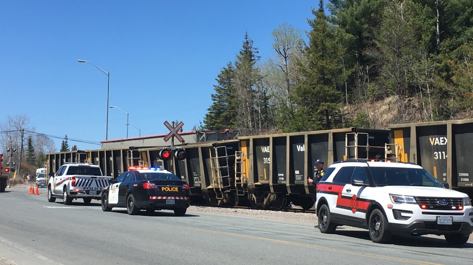 Investigation underway into train-transport crash on Hwy 144. May 22/20 (Alana Pickrell/CTV Northern Ontario)