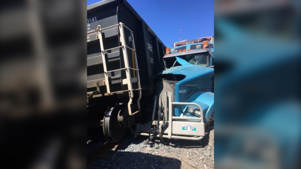 Train and tractor-trailer collides on Hwy 144