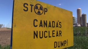 An anti-nuclear waste sign in South Bruce, Ont. is seen Friday, May 22, 2020. (Scott Miller / CTV London)