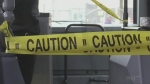 Caution tape on a Timmins transit bus. May 21/20 (Sergio Arangio/CTV Northern Ontario)