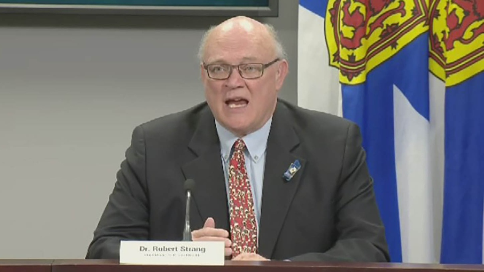 Nova Scotia Chief Medical Officer of Health Dr. Robert Strang provides an update on COVID-19 during a news conference in Halifax on May 22, 2020.