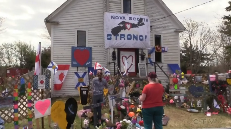 A memorial for the Nova Scotia shooting victims is seen at the old church in Portapique, N.S., on May 22, 2020.