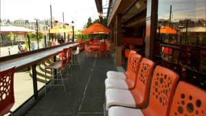 A patio at Belleville's Watering Hole in Victoria is shown.