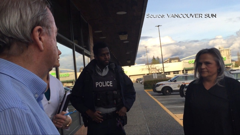 Video obtained by the Vancouver Sun newspaper shows Surrey Mayor Doug McCallum, left, speaking with police at Mountainview Wellness Centre on April 30.