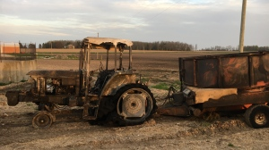 A tractor and farm equipment caught fire at Carson's fire near Listowel. (CTV Kitchener/Terry Kelly)