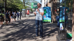 "Andrew Albert performs a short stand-up set in NDG on Friday, May 22, 2020 as part of ""The Lineup."" PHOTO/Gabriel Omassi"