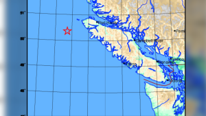 A magnitude 4.9 earthquake was detected off the coast of Vancouver Island Friday night, according to Earthquakes Canada. (Earthquakes Canada)