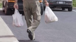 A shopper leaves a grocery store carrying his groceries in plastic bags Tuesday, August 30, 2016 in Brossard, Que. THE CANADIAN PRESS/Paul Chiasson