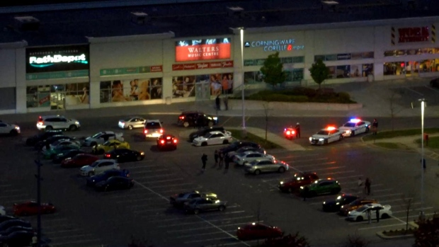 Vehicles are shown during a blitz at Heartland Town Centre in Mississauga on Friday night. Police issues dozens of bylaw citations and charges under the Highway Traffic Act. (Peel Regional Police)