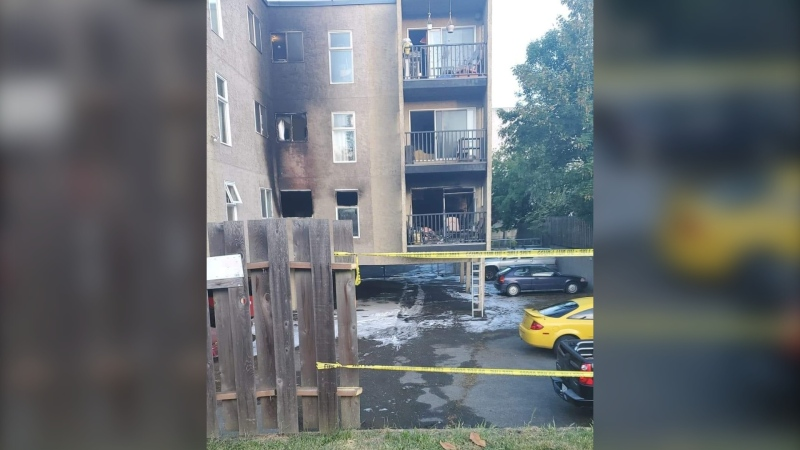 Victoria fire crews rescued three people from their balconies while responding to an apartment fire shortly before 5 a.m. Saturday. (Photo: Jim Hubbard)