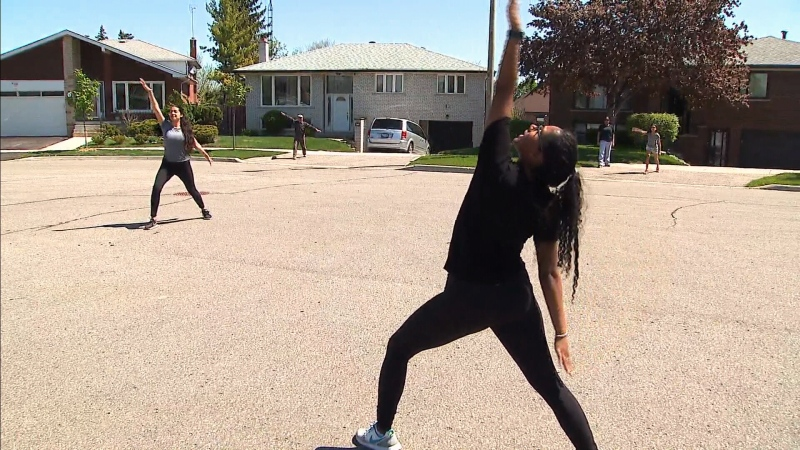 The Cairoli sisters have been leading a weekly exercise class for their North York neighbours as COVID-19 continues to impact people's regular fitness routines. (CTV News Toronto)