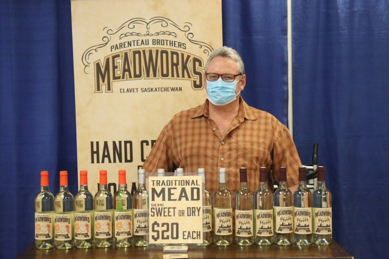 Ian Parenteau with Meadoworks says he's excited to be able to sell his alcohol again at the Sasktoon Farmers' Market again (Chad Leroux/CTV Saskatoon)