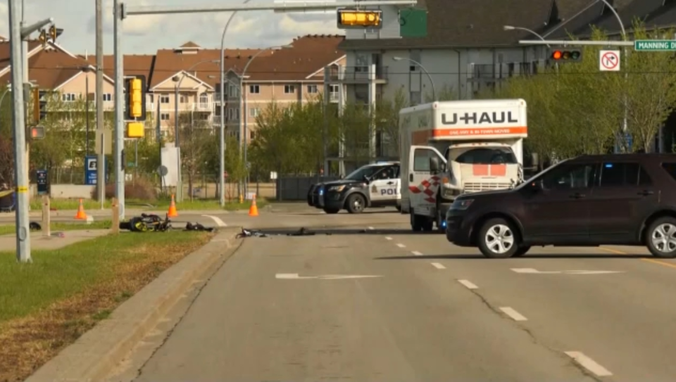 U-Haul and motorcycle collide