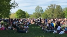 Large crowds seen at Trinity Bellwoods Park on Saturday.