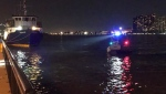 The search for a man in the Detroit River at the foot of Ouellette Ave on May 23, 2020 (Photo by AM800's Gord Bacon)