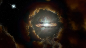 Artist impression of the Wolfe Disk, a massive rotating disk galaxy in the early, dusty universe. The galaxy was initially discovered when ALMA examined the light from a more distant quasar (top left). (S. Dagnello/CNN)
