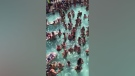 People gathered in a pool at Lake of the Ozarks, Mo. (KTVK / CNN)