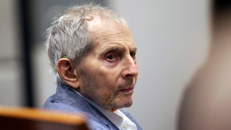 In this March 10, 2020, file photo, real estate heir Robert Durst looks over during his murder trial in Los Angeles. (AP Photo/Alex Gallardo, Pool, File)
