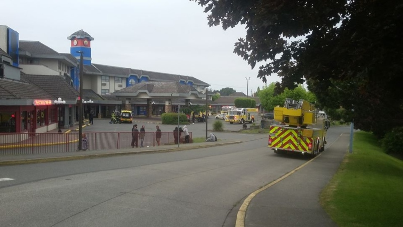 Firefighters were called to a Victoria hotel early Sunday morning for reports of a fire in one of the rooms currently housing people who were relocated from tent cities in Topaz Park and along Pandora Avenue.