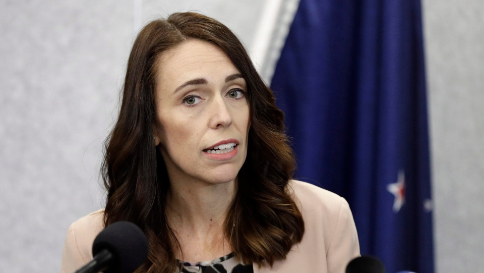 In this Friday, March 13, 2020, photo, New Zealand Prime Minister Jacinda Ardern addresses a press conference in Christchurch, New Zealand. (AP Photo/Mark Baker)