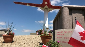 A memorial is located in Moose Jaw, Sask., in memory of Cpt. Jennifer Casey. (Stefanie Davis / CTV News Regina)
