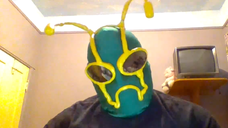 Chris Watson of Bug's Life Cosplay, seen here dressed as Ambush, created a personalized video for a child who is celebrating their birthday while in isolation. (Source: Operation: Birthday Rescue)
