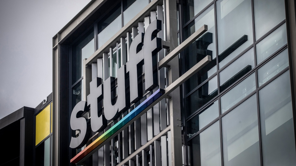 The offices of Stuff media company are seen in Auckland, New Zealand, Monday, May 11, 2020. One of New Zealand's largest media organizations has been sold for a single dollar to the chief executive, Sinead Boucher in a management buyout that would be completed by the end of the month. (Michael Craig/New Zealand Herald via AP)