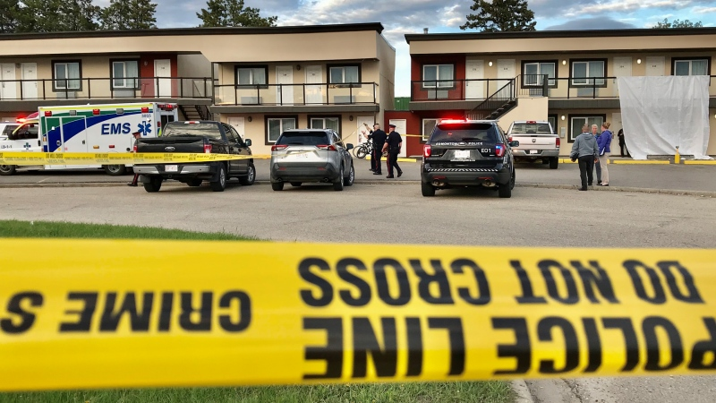 Police are investigating after a body was found in a motel room in south Edmonton. (Sean Amato/CTV News Edmonton)