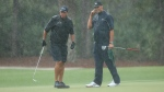 Mickelson and Brady on the 13th green. (Credit: Mike Ehrmann / Getty Images North America / Getty Images for The Match)