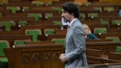 Prime Minister Justin Trudeau rises during a sitting of the Special Committee on Covid-19 Pandemic in Ottawa, Wednesday May 20, 2020. THE CANADIAN PRESS/Adrian Wyld