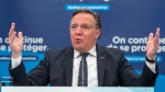 Quebec Premier Francois Legault speaks to the media at the daily COVID-19 press briefing in Montreal.THE CANADIAN PRESS/Ryan Remiorz