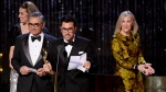 "Daniel Levy speaks as cast members of ""Schitt's Creek"" accept their award at the Canadian Screen Awards in Toronto on Sunday, March 31, 2019. THE CANADIAN PRESS/Nathan Denette"