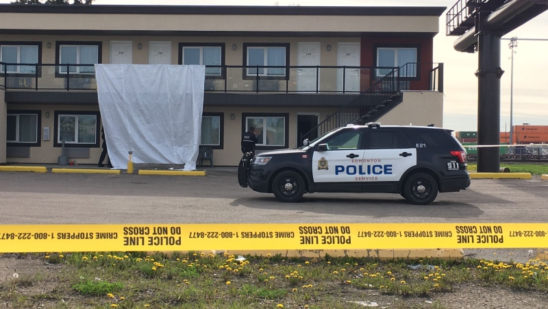 Police remained at a south Edmonton motel Monday morning after a person was found dead inside on May 24, 2020.