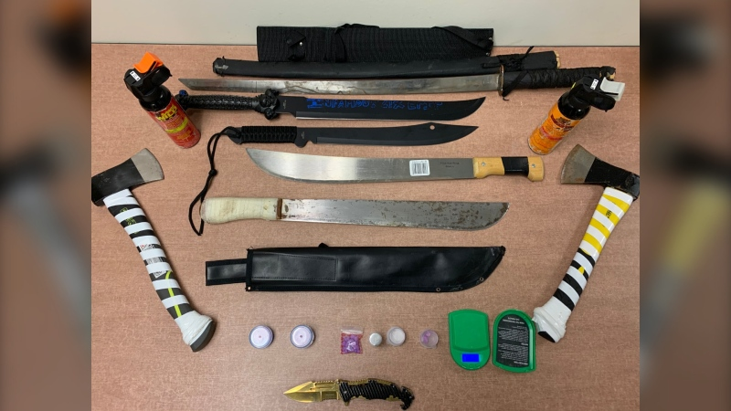 Some of the drugs and weapons seized by police Lethbridge. (Courtesy Lethbridge police)