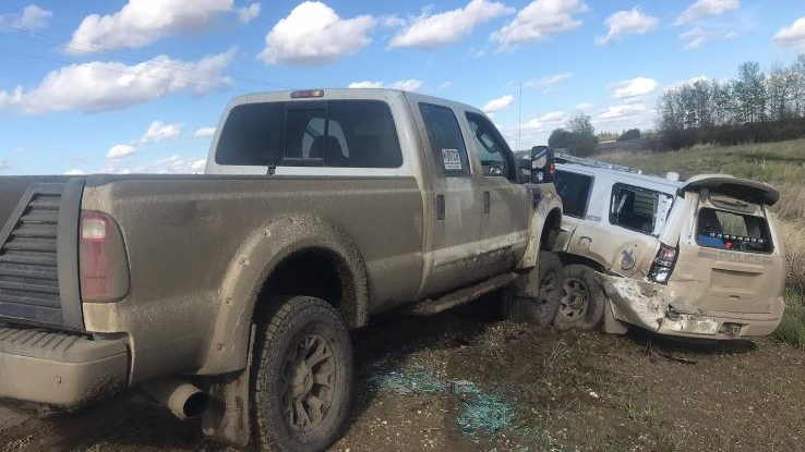 RCMP used a tire deflation device on a fleeing driver on May 23, after which Mounties say the vehicle was driven into a police truck. (Provided.)