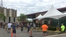 People lined up outside Windsor Regional Hospital COVID-19 Assessment Centre in Windsor Ont., on Mon. May 25 2020 (Bob Bellacicco/CTV Windsor)