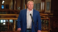 Ontario Premier Doug Ford makes a statement at Queen's Park in Toronto on Sunday, May 24, 2020. THE CANADIAN PRESS/Frank Gunn